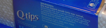 Warning on Q-tips package